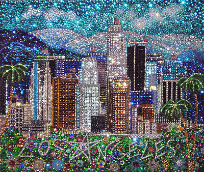 Bead Embroidery Painting - Los Angeles Downtown Crystal Beadwork  by Sofia Goldberg