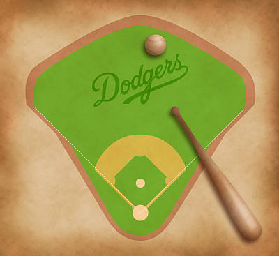 Los Angeles Dodgers Field Print by Carl Scallop