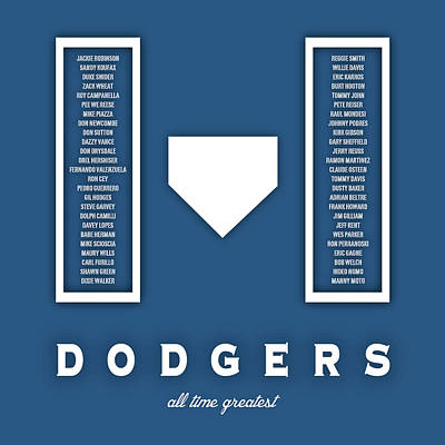 Los Angeles Dodgers Greatest Print by Damon Gray