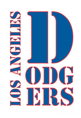 Baseball Art Painting - Los Angeles Dodgers Typography White by Pablo Franchi