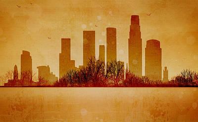 Los Angeles Skyline Mixed Media - Los Angeles Heat Wave by JW Digital Art