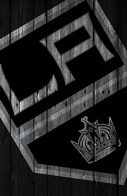 Hockey Digital Art - Los Angeles Kings Wood Fence by Joe Hamilton