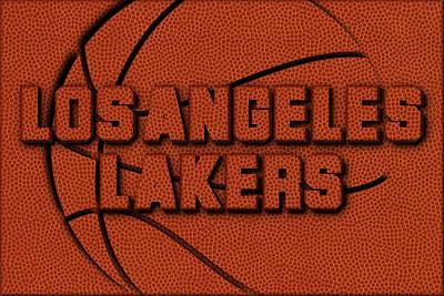 Lakers Photograph - Los Angeles Lakers Leather Art by Joe Hamilton