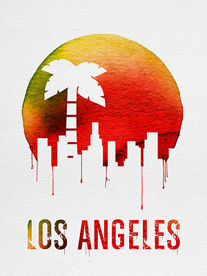 Europe Digital Art - Los Angeles Landmark Red by Naxart Studio