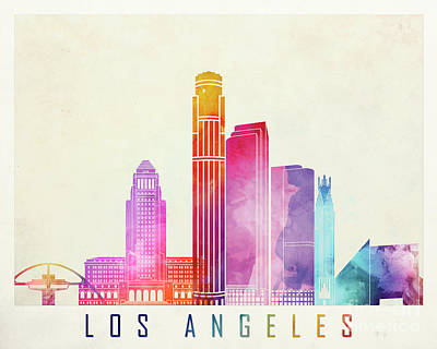Los Angeles Skyline Painting - Los Angeles Landmarks Watercolor Poster by Pablo Romero