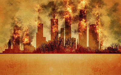 Los Angeles Skyline Mixed Media - Los Angeles On Fire  by JW Digital Art