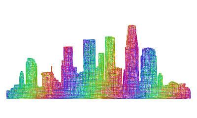 Los Angeles Skyline Drawing - Los Angeles Skyline by David Zydd