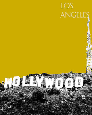 Cities Digital Art - Los Angeles Skyline Hollywood - Gold by DB Artist