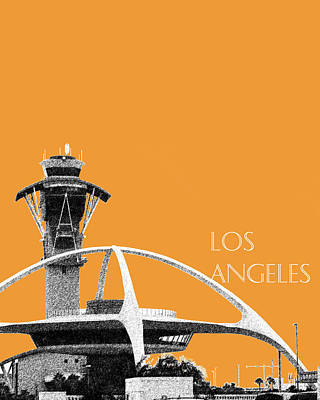 Los Angeles Skyline Lax Spider - Orange Print by DB Artist