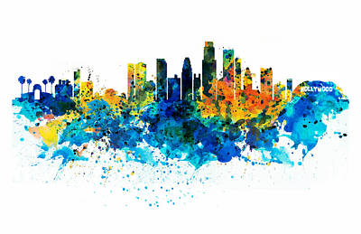 Shirt Digital Art - Los Angeles Skyline by Marian Voicu