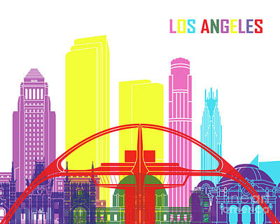 Los Angeles Skyline Painting - Los Angeles Skyline Pop by Pablo Romero
