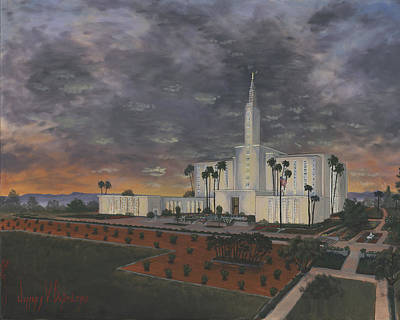 Saint-lo Painting - Los Angeles Temple Evening by Jeff Brimley