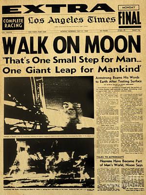 Digital Art - Los Angeles Times Moon Walk Newspaper by Alicia Hollinger