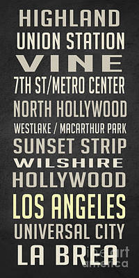 North Drawing - Los Angeles Vintage Places Poster by Edward Fielding