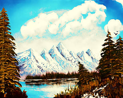 Bob Ross Digital Art - Lost Blue Lagoon - Elegance With Oil by Claude Beaulac
