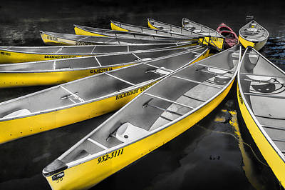 Lost Lake Yellow Canoes Tethered In Whistler British Columbia Print by Randall Nyhof
