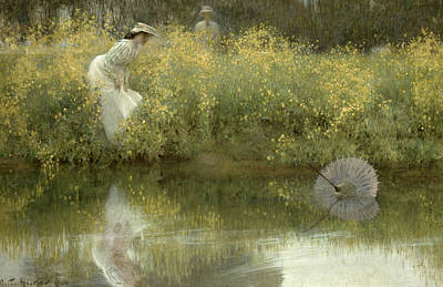 Floating Girl Painting - Lost Parasol by Arthur Hacker