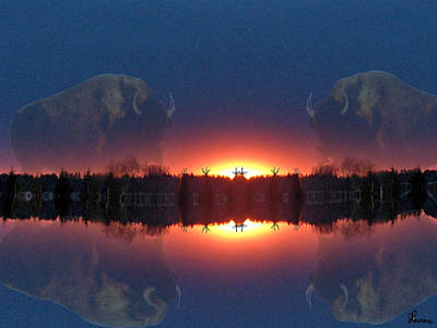 Bison Digital Art - Lost World Reflections by Andrea Lawrence
