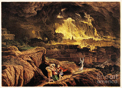 Lot And Family Fleeing Sodom Print by Wellcome Images