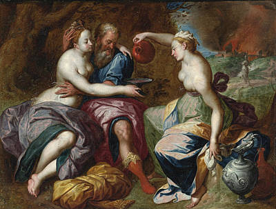 Lot Painting - Lot And His Daughters by Circle of Jacob de Backer