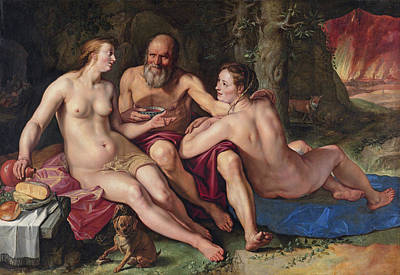 Lot Painting - Lot And His Daughters by Hendrik Goltzius