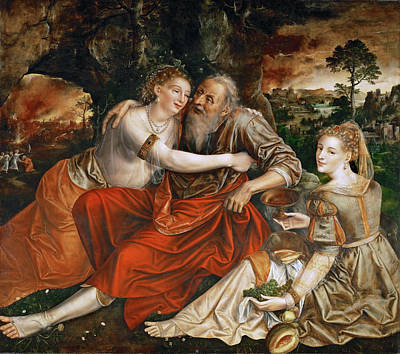 Lot Painting - Lot And His Daughters by Jan Massys