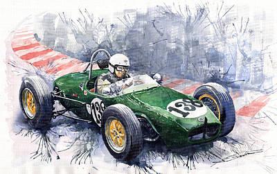 Old Car Painting - Lotus 18 F2 by Yuriy  Shevchuk