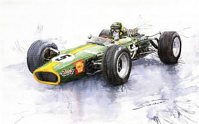 Vintage Sports Cars Painting - Lotus 49 Ford F1 Jim Clark by Yuriy  Shevchuk