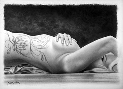 Drawing - Lotus by AD Cook
