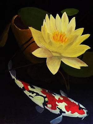 Lotus And Koi- Plant And Animal Painting Print by Glenn Ledford