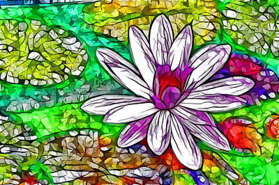 Lotus Flower In The Pond 18 Print by Lanjee Chee