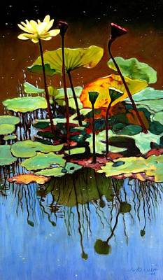 July Painting - Lotus In July by John Lautermilch
