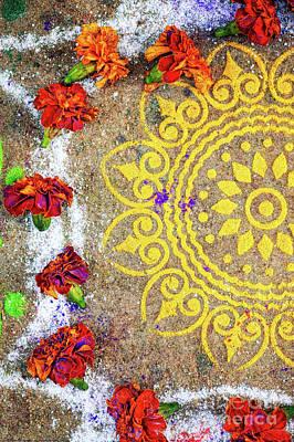 Indian Art Photograph - Lotus Rangoli by Tim Gainey