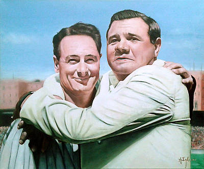 Babe Ruth Painting - Lou Gehrig And Babe Ruth by Agustin Iglesias