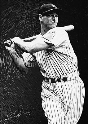Babe Ruth Digital Art - Lou Gehrig by Taylan Apukovska
