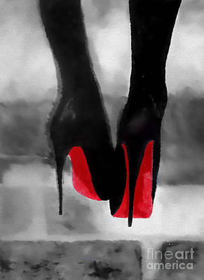 Shoe Painting - Louboutin At Midnight Black And White by Rebecca Jenkins