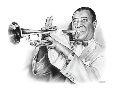Jazz Drawing - Louis Armstrong by Greg Joens