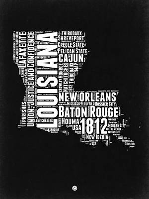 Cajun Digital Art - Louisiana Black And White Word Cloud Map by Naxart Studio