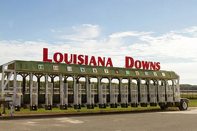 Thoroughbred City Photograph - Louisiana Downs Entrance Sign On Starting Gate by Karen Foley