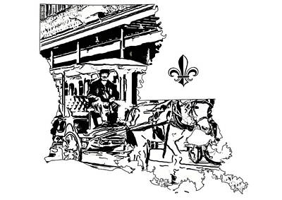 Jazz Photograph - Louisiana Map - French Quarter Carriage Ride by Steve Harrington