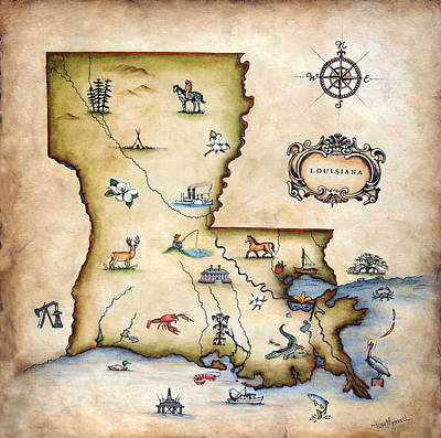 Antique Painting - Louisiana Map by Judy Merrell