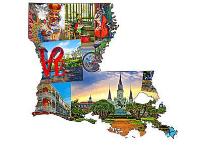 Louisiana Map - New Orleans Print by Steve Harrington