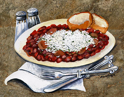 Fleur De Lis Painting - Louisiana Red Beans And Rice by Elaine Hodges