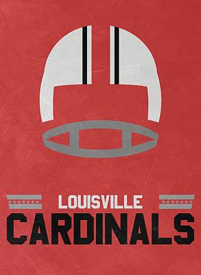 Cardinal Mixed Media - Louisville Cardinals Vintage Football Art by Joe Hamilton