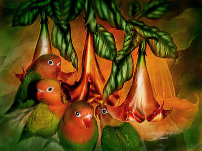 Lovebird Mixed Media - Love Among The Trumpets by Carol Cavalaris