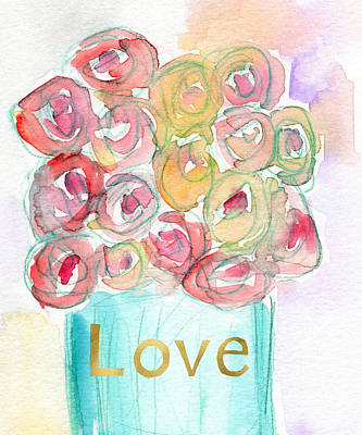 Love And Roses- Art By Linda Woods Print by Linda Woods