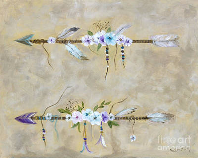 Indian Tribal Art Painting - Love Arrows by Marilyn Dunlap