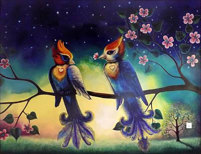 Love Birds Painting In My Bedroom Print by Arun Sivaprasad