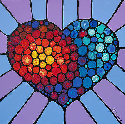 Hearts Painting - Love Conquers All by Sharon Cummings