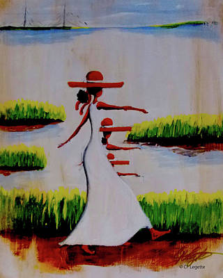 Painting - Love Faith Hope Barefoot by C F  Legette